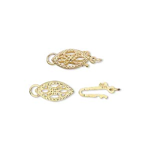 clasp, fishhook, gold-plated brass, 11x6mm oval with cutout flower. sold per pkg of 2.