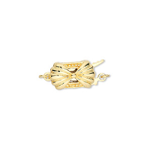clasp, fishhook, gold-plated brass, 13x8mm double-sided fancy rectangle. sold individually.