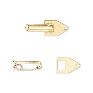 clasp, fold-over, gold-plated copper, 22x7.5mm with tab end. sold per pkg of 10.