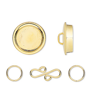 clasp, gold-plated pewter (zinc-based alloy), 25mm round with 19mm non-calibrated round bezel setting and 17x9mm s-hook with (2) 8mm jumprings. sold individually.
