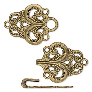 clasp, hook-and eye, antique brass-plated pewter (zinc-based alloy), 59x28mm single-sided fancy. sold individually.