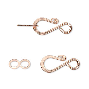clasp, hook-and-eye, copper-plated brass, 12.5x8.5mm flat. sold per pkg of 100.