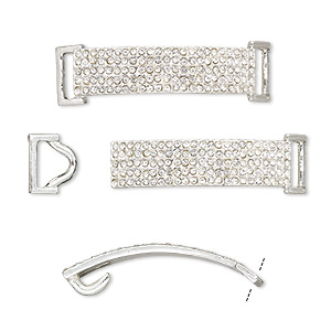 clasp, hook-and-eye, glass rhinestone and silver-finished pewter (zinc-based alloy), clear, 49x13mm single-sided curved rectangle, 10x3.5mm inside diameter. sold per 2-piece set.