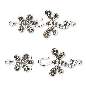 clasp, hook-and-eye, marcasite (natural) and antiqued sterling silver, 32x16mm dragonfly with flower. sold individually.