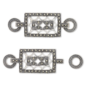 clasp, hook-and-eye, marcasite (natural) and sterling silver, 53x18.5mm rectangle with cutouts and 11mm rings. sold individually.