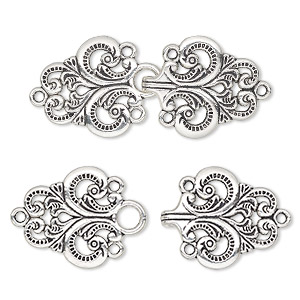 clasp, hook, antique silver-finished pewter (zinc-based alloy), 67x28mm fleur-de-lis. sold individually.