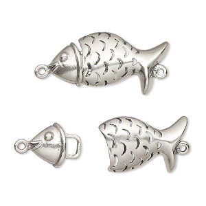 clasp, hook, antiqued sterling silver, 25x13mm fish. sold individually.