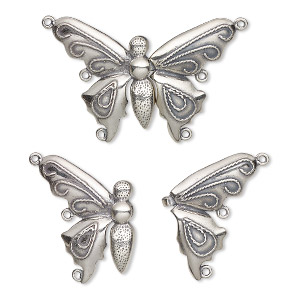clasp, jbb findings, 3-strand hook-and-eye, antiqued sterling silver, 38x28mm butterfly. sold individually.