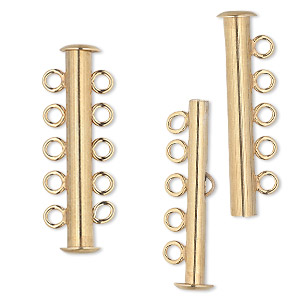 clasp, jbb findings, 5-strand slide lock, vermeil, 31x5mm tube. sold individually.