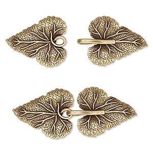 clasp, jbb findings, hook-and-eye, antiqued brass, 56x23mm single-sided leaves with hidden loops. sold individually.