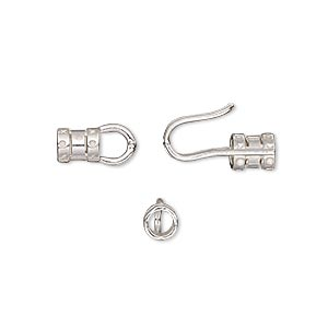 clasp, jbb findings, hook-and-eye, sterling silver, 19x8mm crimp-style with 3mm hole. sold individually.