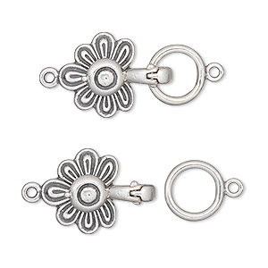 clasp, jbb findings, magnetic fold-over, antiqued sterling silver, 23x14mm flower. sold individually.