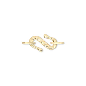 clasp, jbb findings, s-hook, gold-plated pewter (tin-based alloy), 15x11mm with double-sided line design and (2) 7mm jumprings. sold individually.