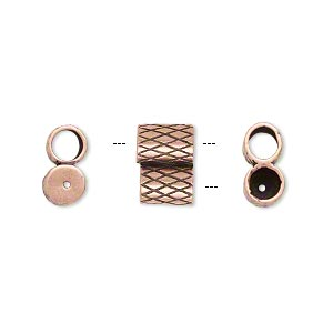 clasp, jbb findings, slide, antique copper-plated brass, 11x7.5mm textured double-round tube, fits 4mm cord. sold per 2-piece set.