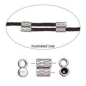 clasp, jbb findings, slide, antiqued sterling silver, 9x7.5mm textured double-round tube, fits 3mm cord. sold per 2-piece set.