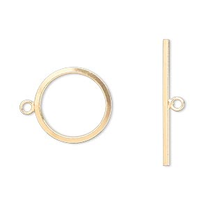 clasp, jbb findings, toggle, 12kt gold-filled, 16mm smooth round. sold individually.