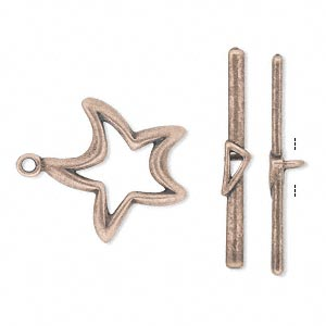 clasp, jbb findings, toggle, antique copper-plated pewter (tin-based alloy), 20x20mm double-sided star. sold individually.