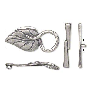 clasp, jbb findings, toggle, antique silver-plated pewter (tin-based alloy), 26.5x13mm single-sided leaf with hidden loop. sold individually.