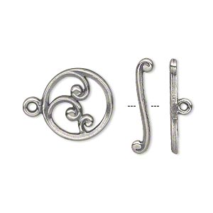 clasp, jbb findings, toggle, antique silver-plated pewter (tin-based alloy), 15mm single-sided round with wave crest design. sold individually.