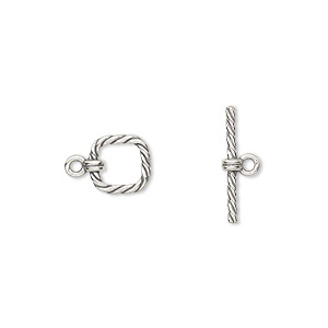 clasp, jbb findings, toggle, antiqued sterling silver, 8x8mm twisted square. sold per pkg of 2.
