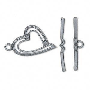 clasp, jbb findings, toggle, gunmetal-plated pewter (tin-based alloy), 22x15.5mm single-sided heart. sold individually.