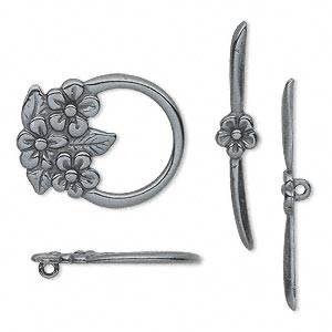clasp, jbb findings, toggle, gunmetal-plated pewter (tin-based alloy), 23x18.5mm single-sided flower. sold individually.