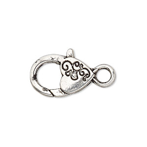 clasp, lobster claw, antique silver-plated pewter (zinc-based alloy), 20x12mm with double-sided swirl heart design. sold per pkg of 6.