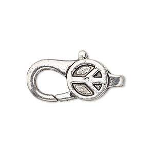 clasp, lobster claw, antique silver-plated pewter (zinc-based alloy), 27x12mm with double-sided peace sign design. sold per pkg of 4.