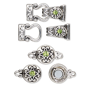 clasp, magnetic and 2-strand magnetic fold-over, glass rhinestone and antique silver-finished pewter (zinc-based alloy), green, 29x13mm and 12mm double-sided round. sold per pkg of 4.