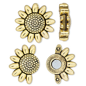 clasp, magnetic, antique gold-finished pewter (zinc-based alloy), 23mm sunflower with glue-in ends, 9x2mm inside diameter. sold individually.