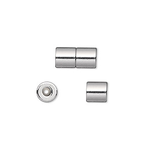clasp, magnetic barrel, silver-plated steel, 12x6mm round tube with 1mm inside diameter. sold per pkg of 4.