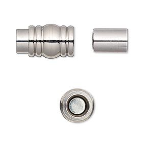 clasp, magnetic barrel, stainless steel, 16x10mm ribbed with glue-in ends, 6mm inside diameter. sold individually.