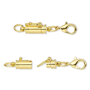 clasp, magnetic converter with safety, gold-finished brass, 34x7mm with 11x7mm barrel and 12x6mm lobster claw with (2) 6mm jumprings. sold individually.