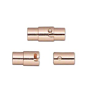 clasp, magnetic, copper-plated brass, 18x7mm locking round tube with glue-in ends, 5mm inside diameter. sold per pkg of 2.