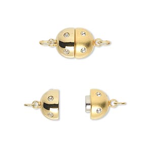 clasp, magnetic, cubic zirconia and gold-plated brass, clear, 11x9mm matte and shiny oval. sold individually.