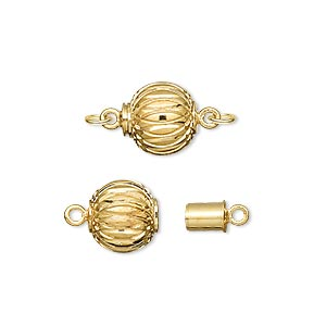 clasp, magnetic, gold-plated brass, 10mm corrugated round. sold individually.