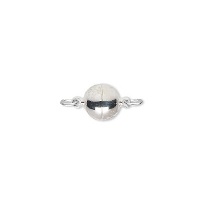 clasp, magnetic, silver-plated brass, 8mm round. sold individually.
