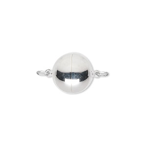 clasp, magnetic, silver-plated copper, 12mm round. sold individually.