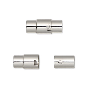 clasp, magnetic, stainless steel, 18x8mm locking round tube with glue-in ends, 5mm inside diameter. sold individually.