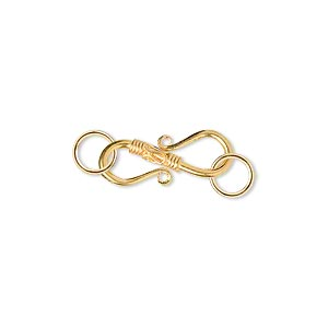 clasp, s-hook, 18kt gold, 17x10.5mm with twist design. sold individually.