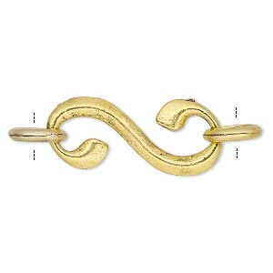 clasp, s-hook, antique gold-finished pewter (zinc-based alloy), 34x15mm swirl with 2 rings. sold per pkg of 10.