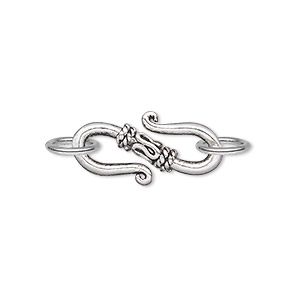 clasp, s-hook, antique silver-plated pewter (zinc-based alloy), 22x10mm double-sided with (2) 8mm jumprings. sold per pkg of 10.