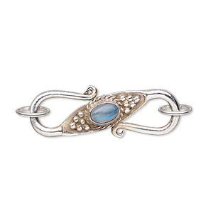 clasp, s-hook, antiqued sterling silver and rainbow moonstone (natural), oval cabochon, 30x11mm. sold individually.