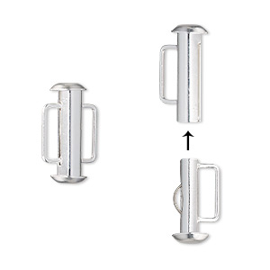 clasp, slide lock, silver-plated brass, 16x6mm round tube, 8x2mm inside diameter. sold per pkg of 4.