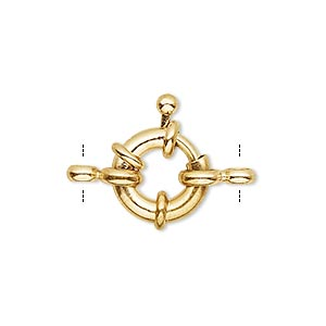 clasp, springring, gold-finished brass, 13mm with nautical design and loop. sold per pkg of 10.