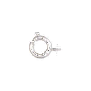 clasp, springring, silver-plated brass, 9mm. sold per pkg of 10.