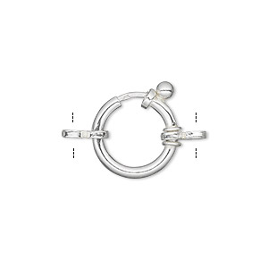 clasp, springring, sterling silver, 14mm round with 2 double rings. sold individually.