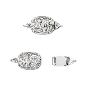 clasp, tab, antique silver-plated brass, 12x9mm filigree oval. sold per pkg of 4.