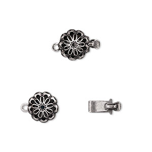 clasp, tab, antique silver-plated brass, 9x9mm flower. sold per pkg of 10.
