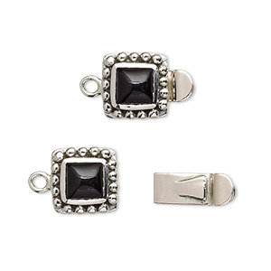 clasp, tab, black onyx (dyed) and sterling silver, 11x11mm square with 6x6mm domed square. sold individually.